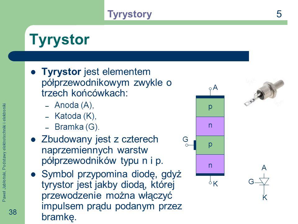 Paweł Jabłoński, Podstawy elektrotechniki i elektroniki 38 Tyrystor Tyrystor jest elementem półprzewodnikowym zwykle o trzech końcówkach: – Anoda (A), – Katoda (K), – Bramka (G).