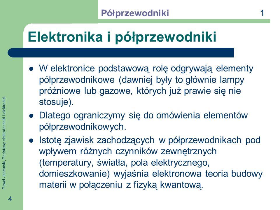 Paweł Jabłoński, Podstawy elektrotechniki i elektroniki 4 Elektronika i półprzewodniki W elektronice podstawową rolę odgrywają elementy półprzewodnikowe (dawniej były to głównie lampy próżniowe lub gazowe, których już prawie się nie stosuje).