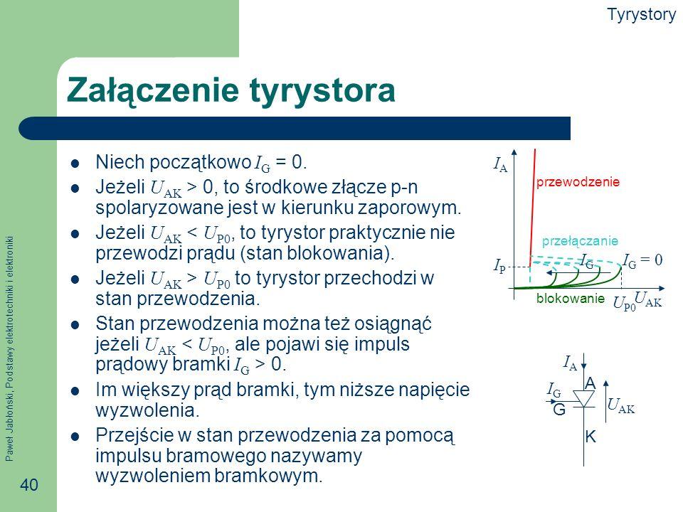 Paweł Jabłoński, Podstawy elektrotechniki i elektroniki 40 Załączenie tyrystora Niech początkowo I G = 0.
