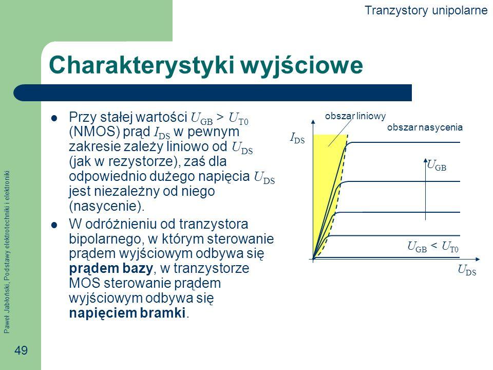 Paweł Jabłoński, Podstawy elektrotechniki i elektroniki 49 Charakterystyki wyjściowe Przy stałej wartości U GB > U T0 (NMOS) prąd I DS w pewnym zakresie zależy liniowo od U DS (jak w rezystorze), zaś dla odpowiednio dużego napięcia U DS jest niezależny od niego (nasycenie).