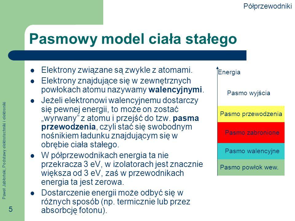 Paweł Jabłoński, Podstawy elektrotechniki i elektroniki 5 Pasmowy model ciała stałego Elektrony związane są zwykle z atomami.