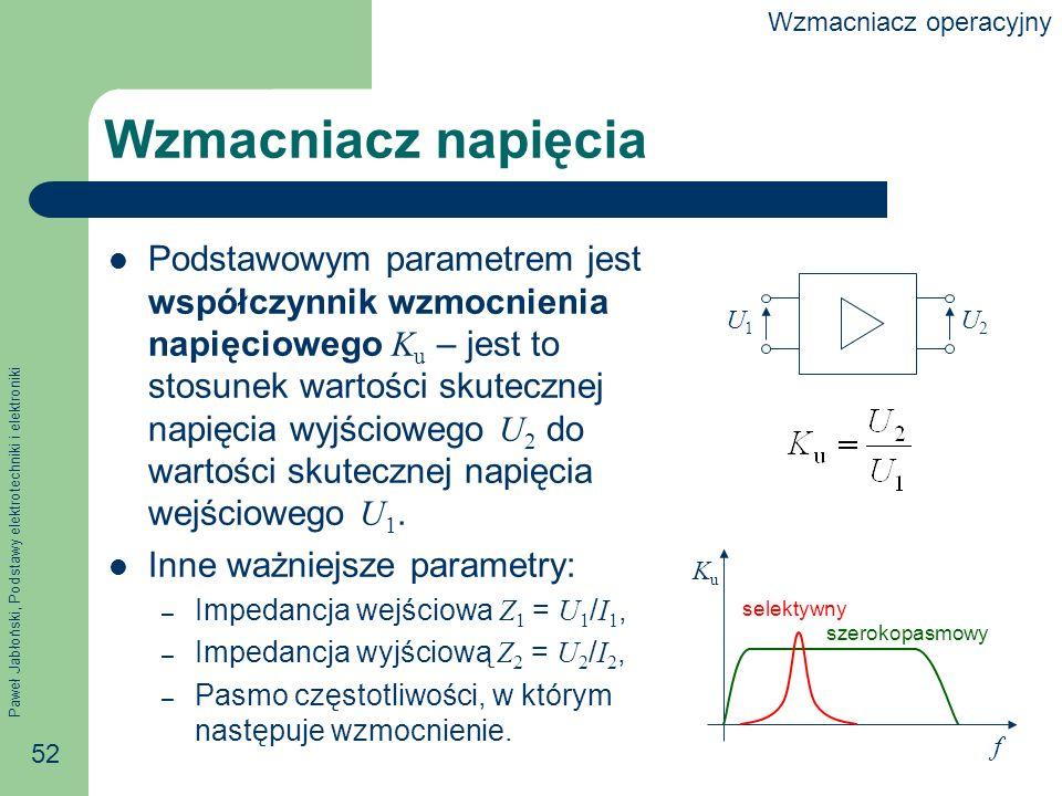 Paweł Jabłoński, Podstawy elektrotechniki i elektroniki 52 Wzmacniacz napięcia Podstawowym parametrem jest współczynnik wzmocnienia napięciowego K u – jest to stosunek wartości skutecznej napięcia wyjściowego U 2 do wartości skutecznej napięcia wejściowego U 1.
