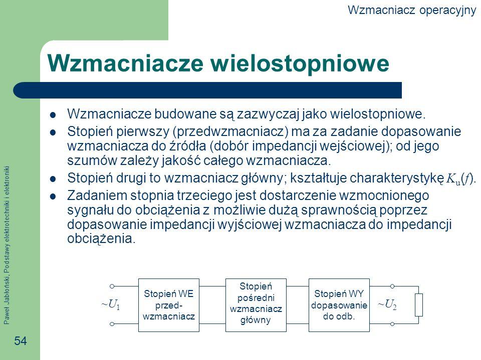 Paweł Jabłoński, Podstawy elektrotechniki i elektroniki 54 Wzmacniacze wielostopniowe Wzmacniacze budowane są zazwyczaj jako wielostopniowe.