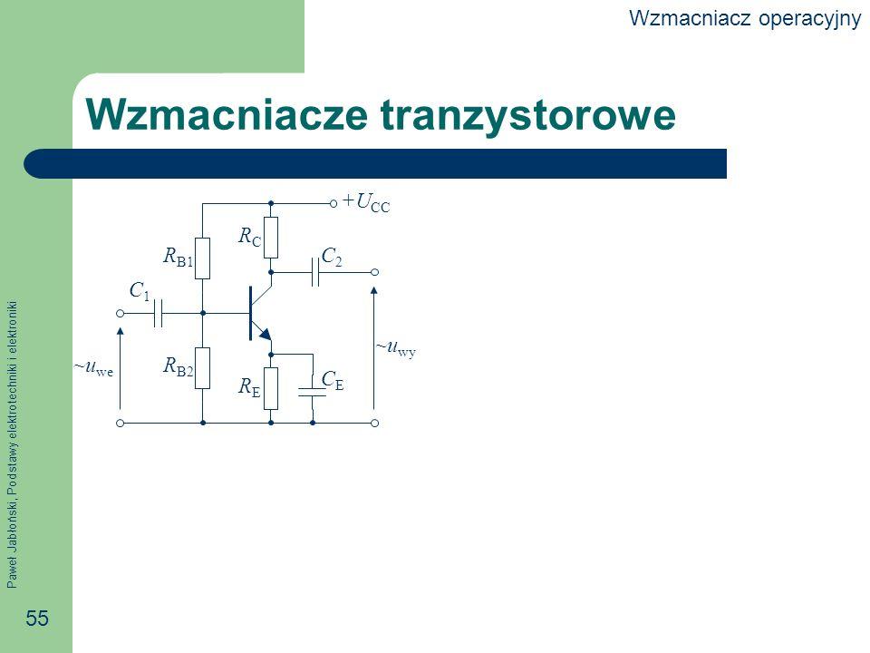 Paweł Jabłoński, Podstawy elektrotechniki i elektroniki 55 Wzmacniacze tranzystorowe +U CC RERE RCRC CECE R B1 R B2 ~u we ~u wy C2C2 C1C1 Wzmacniacz operacyjny
