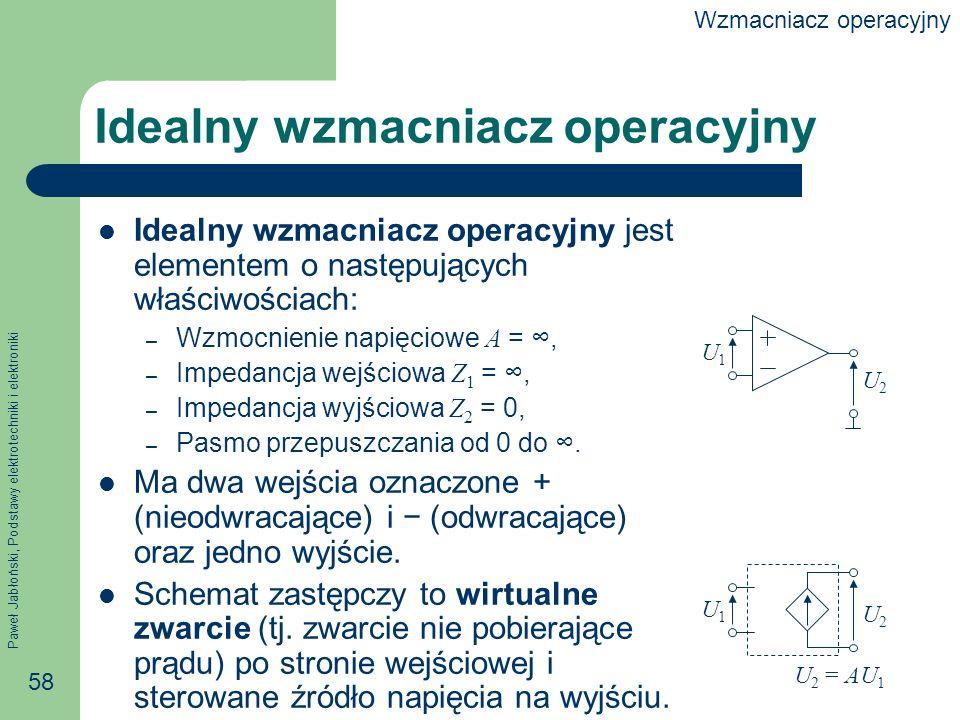Paweł Jabłoński, Podstawy elektrotechniki i elektroniki 58 Idealny wzmacniacz operacyjny Idealny wzmacniacz operacyjny jest elementem o następujących właściwościach: – Wzmocnienie napięciowe A =, – Impedancja wejściowa Z 1 =, – Impedancja wyjściowa Z 2 = 0, – Pasmo przepuszczania od 0 do.