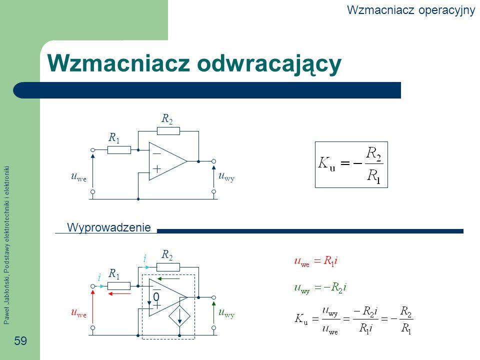 Paweł Jabłoński, Podstawy elektrotechniki i elektroniki 59 Wzmacniacz odwracający R1R1 R2R2 0 i i u we u wy R1R1 R2R2 u we u wy Wyprowadzenie Wzmacniacz operacyjny
