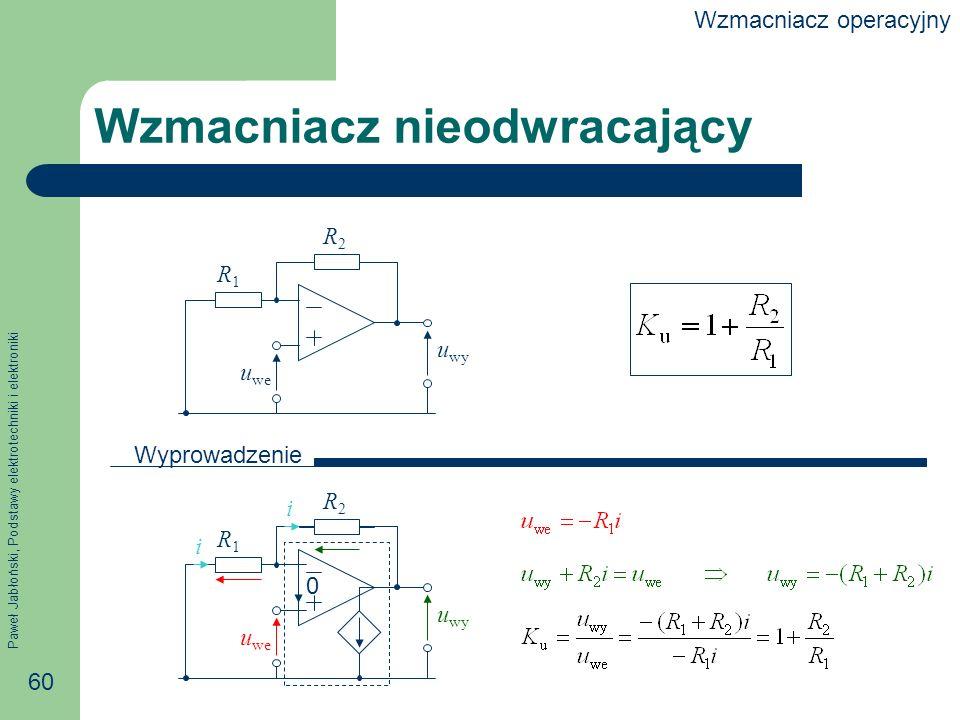 Paweł Jabłoński, Podstawy elektrotechniki i elektroniki 60 0 R1R1 R2R2 Wzmacniacz nieodwracający i i u we u wy R1R1 R2R2 u we u wy Wyprowadzenie Wzmacniacz operacyjny