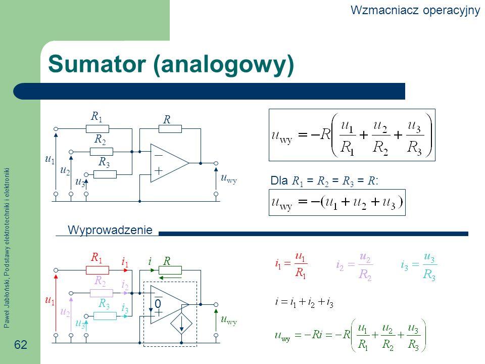 Paweł Jabłoński, Podstawy elektrotechniki i elektroniki 62 R3R3 Sumator (analogowy) 0 u wy Wyprowadzenie R u2u2 u wy u3u3 u1u1 R1R1 R2R2 R3R3 R u2u2 u3u3 u1u1 R1R1 R2R2 ii1i1 i2i2 i3i3 Dla R 1 = R 2 = R 3 = R : Wzmacniacz operacyjny