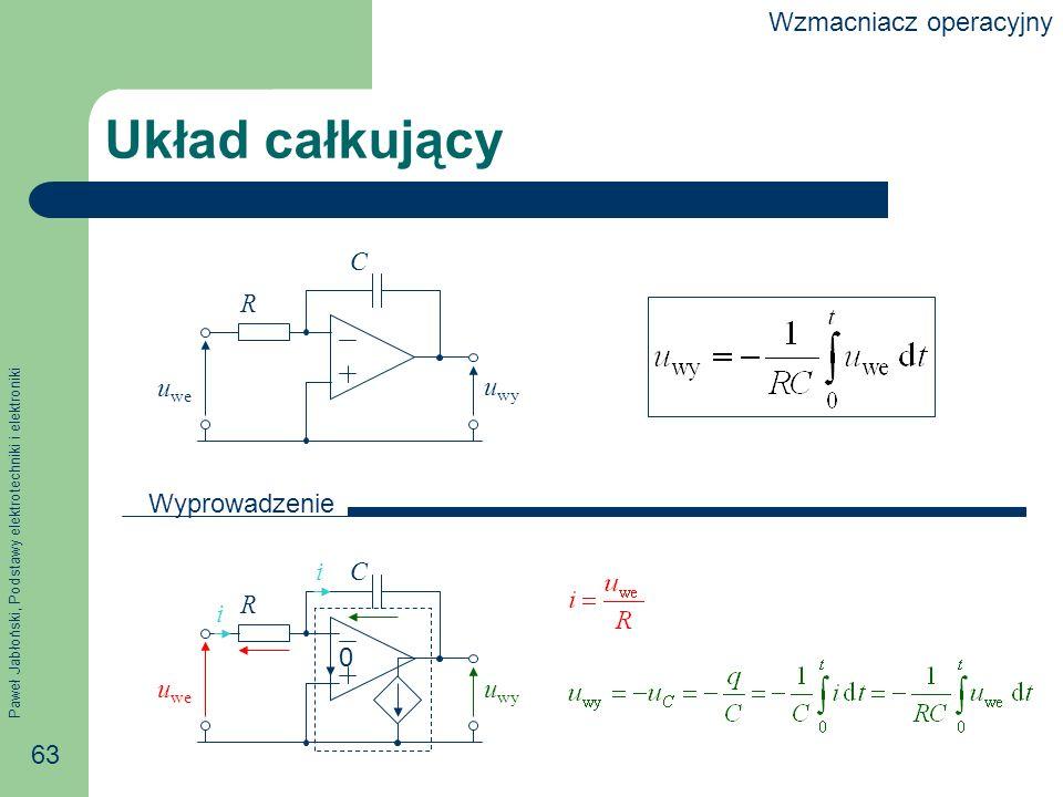 Paweł Jabłoński, Podstawy elektrotechniki i elektroniki 63 R C Układ całkujący 0 i i u we u wy C Wyprowadzenie R u we u wy Wzmacniacz operacyjny