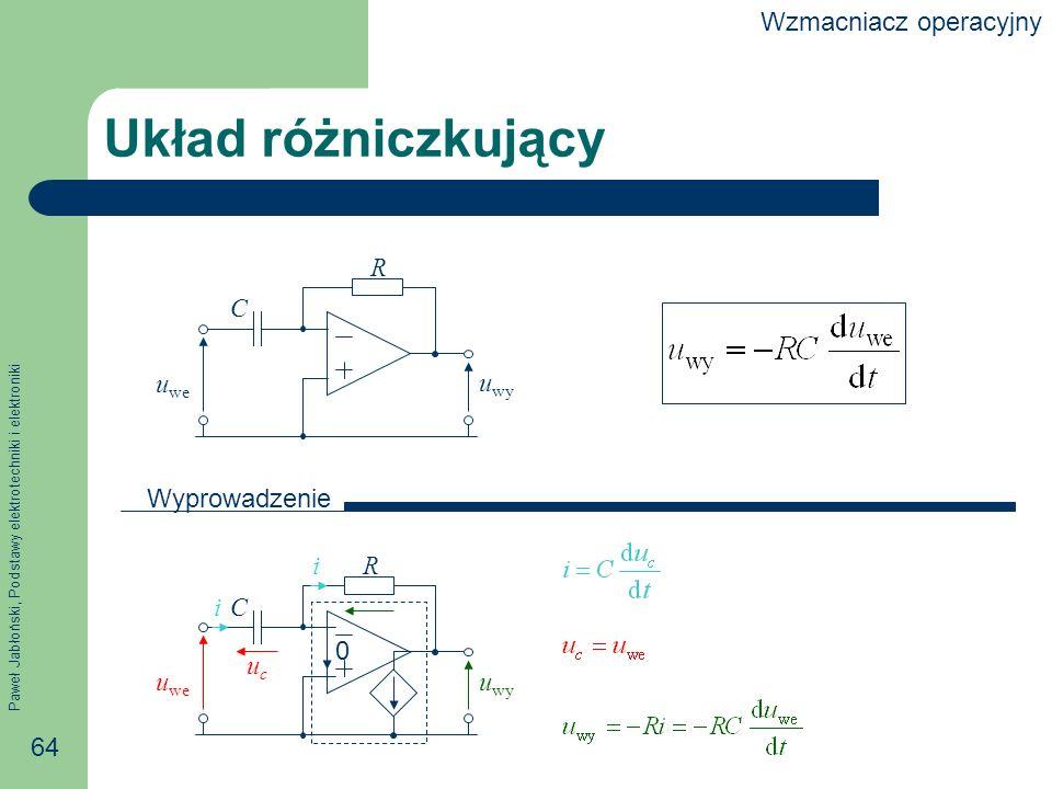 Paweł Jabłoński, Podstawy elektrotechniki i elektroniki 64 R C Układ różniczkujący 0 i i u we u wy Wyprowadzenie R C u we u wy ucuc Wzmacniacz operacyjny