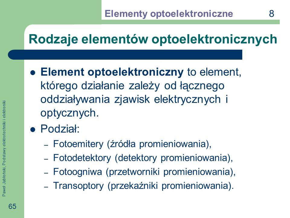 Paweł Jabłoński, Podstawy elektrotechniki i elektroniki 65 Rodzaje elementów optoelektronicznych Element optoelektroniczny to element, którego działanie zależy od łącznego oddziaływania zjawisk elektrycznych i optycznych.