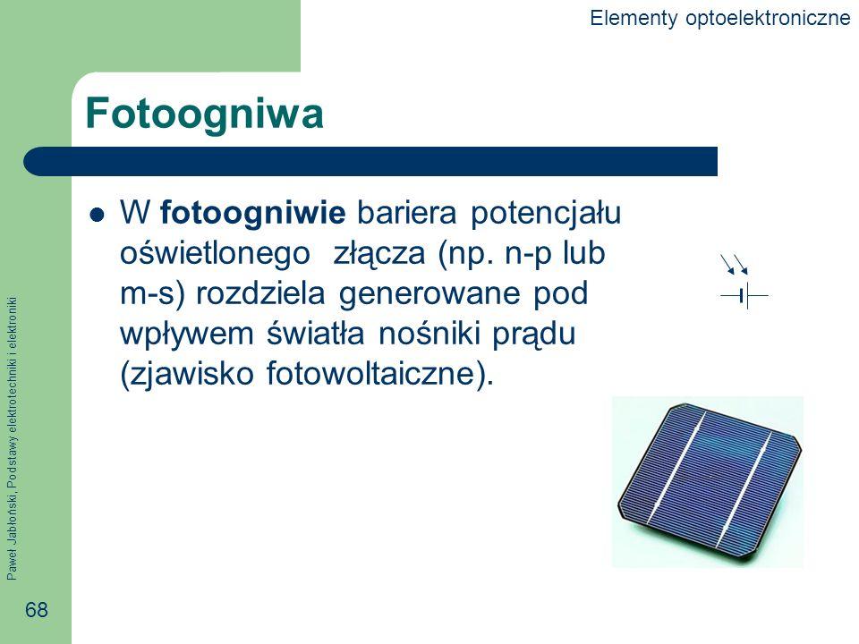Paweł Jabłoński, Podstawy elektrotechniki i elektroniki 68 Fotoogniwa W fotoogniwie bariera potencjału oświetlonego złącza (np.