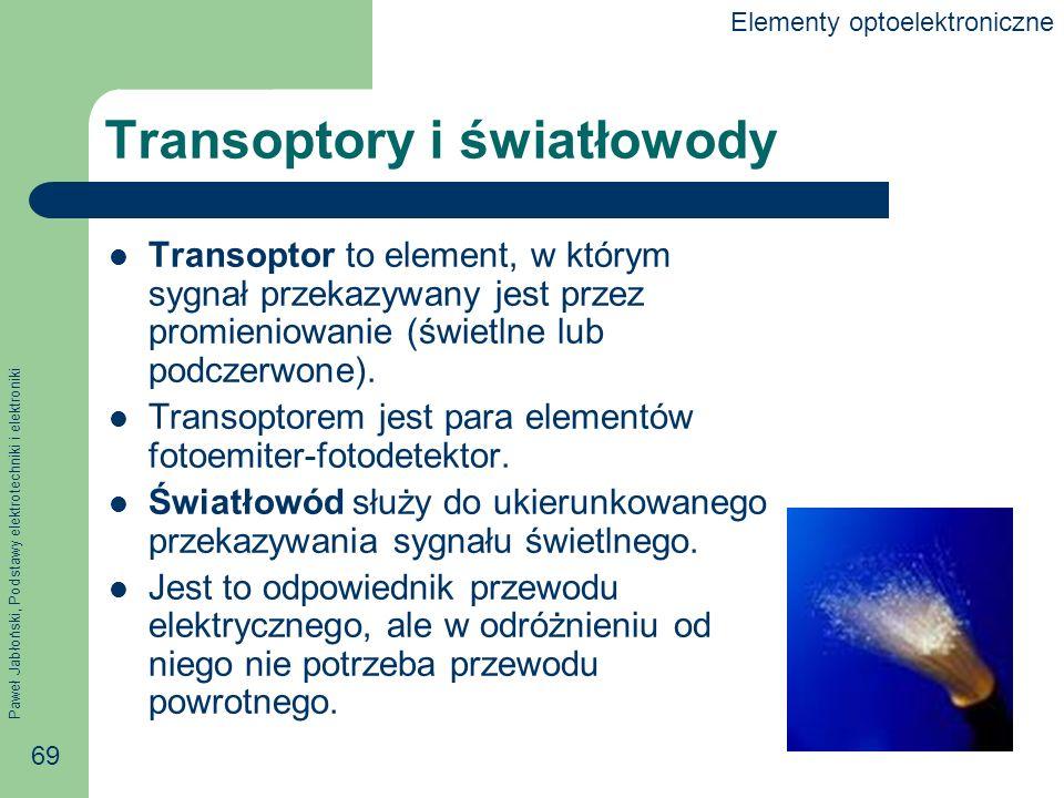 Paweł Jabłoński, Podstawy elektrotechniki i elektroniki 69 Transoptory i światłowody Transoptor to element, w którym sygnał przekazywany jest przez promieniowanie (świetlne lub podczerwone).