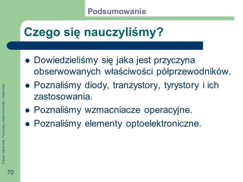 Paweł Jabłoński, Podstawy elektrotechniki i elektroniki 70 Czego się nauczyliśmy.