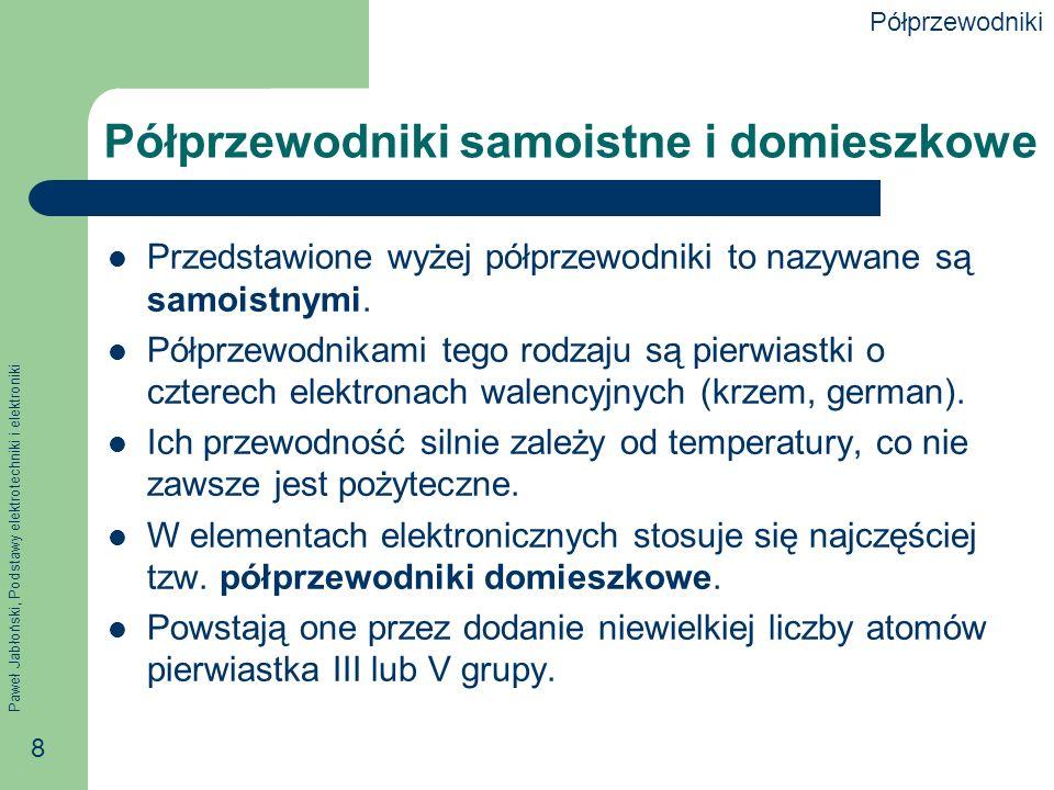 Paweł Jabłoński, Podstawy elektrotechniki i elektroniki 8 Półprzewodniki samoistne i domieszkowe Przedstawione wyżej półprzewodniki to nazywane są samoistnymi.