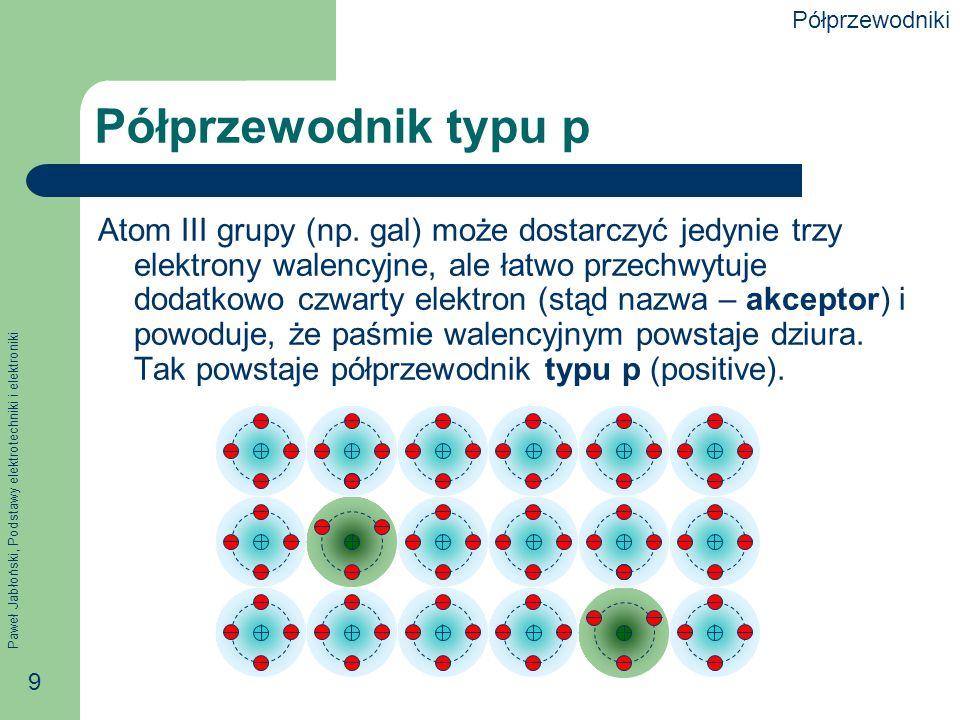 Paweł Jabłoński, Podstawy elektrotechniki i elektroniki 9 Półprzewodnik typu p Atom III grupy (np.