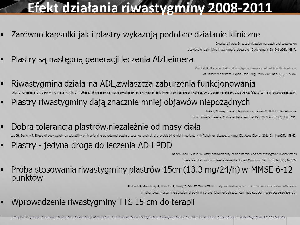 Efekt działania riwastygminy 2008-2011 Zarówno kapsułki jak i plastry wykazują podobne działanie kliniczne Grossberg i wsp. Impact of rivastigmine pat