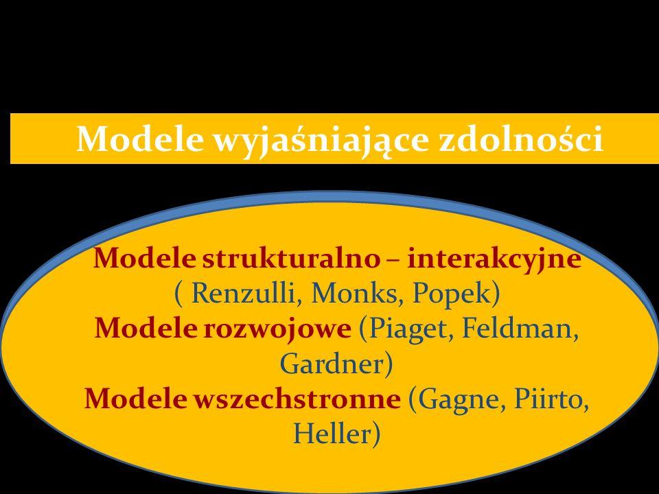 Modele wyjaśniające zdolności Modele strukturalno – interakcyjne ( Renzulli, Monks, Popek) Modele rozwojowe (Piaget, Feldman, Gardner) Modele wszechst