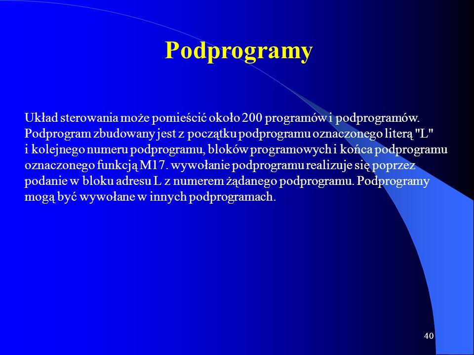 39 Cykle Obróbkowe Stałe W celu usprawnienia programowania system SINUMERIK 810M posiada możliwość przy powtarzających się elementach obróbki zastosow