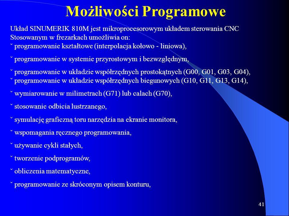 40 Podprogramy Układ sterowania może pomieścić około 200 programów i podprogramów. Podprogram zbudowany jest z początku podprogramu oznaczonego literą