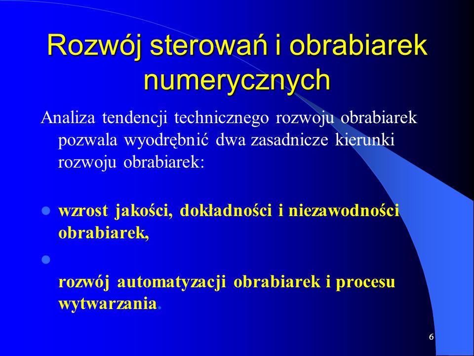 26 G17 Płaszczyzna interpolacji XY G18 Płaszczyzna interpolacji ZX G19 Płaszczyzna interpolacji YZ G33 Gwintowanie G40 Odwołanie kompensacji promienia narzędzia G41 Kompensacja promienia narzędzia w lewo od konturu G42 Kompensacja promienia narzędzia w prawo od konturu G90 Programowanie absolutne (bezwzględne) G91 Programowanie przyrostowe (inkrementalne)