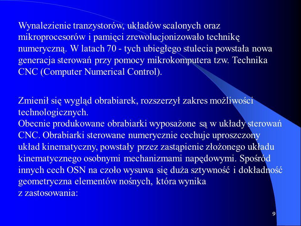 19 W obrabiarkach sterowanych numerycznie oznaczenia osi współrzędnych oraz kierunków ruchów są zgodne z PN-84/M-55251 opracowaną na podstawie zaleceń międzynarodowej organizacji ISO.