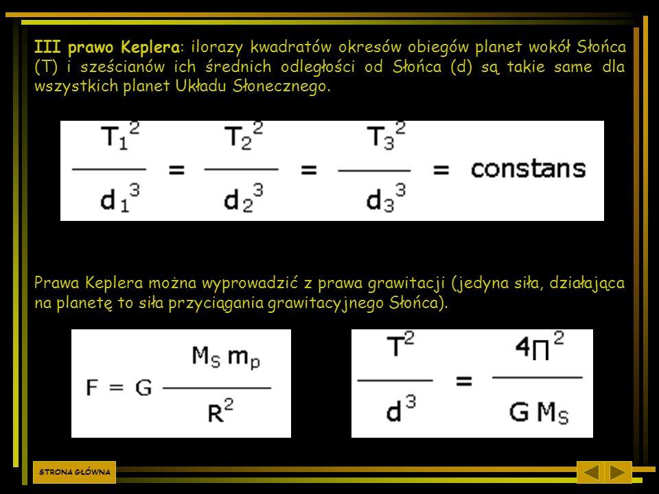 III prawo Keplera: ilorazy kwadratów okresów obiegów planet wokół Słońca (T) i sześcianów ich średnich odległości od Słońca (d) są takie same dla wszy
