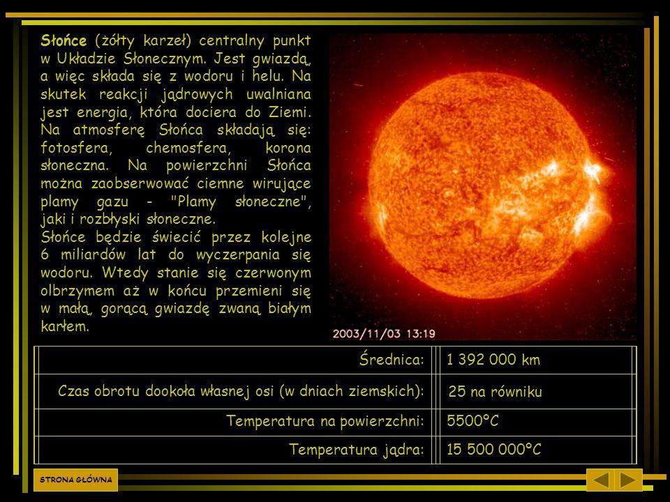 Słońce (żółty karzeł) centralny punkt w Układzie Słonecznym. Jest gwiazdą, a więc składa się z wodoru i helu. Na skutek reakcji jądrowych uwalniana je