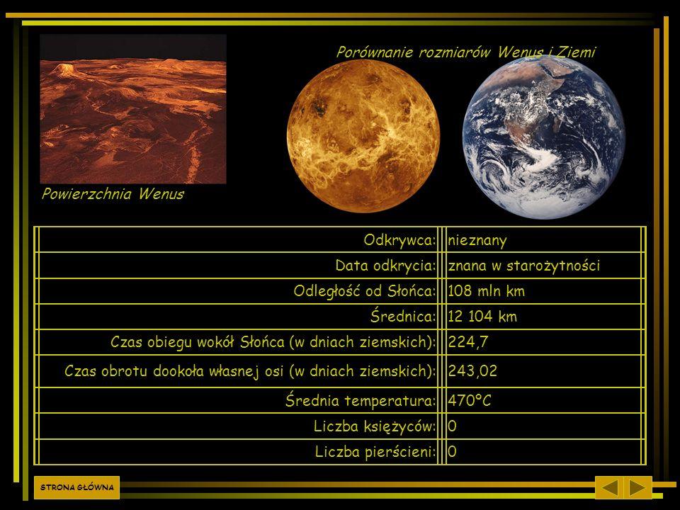 Odkrywca:nieznany Data odkrycia:znana w starożytności Odległość od Słońca:108 mln km Średnica:12 104 km Czas obiegu wokół Słońca (w dniach ziemskich):