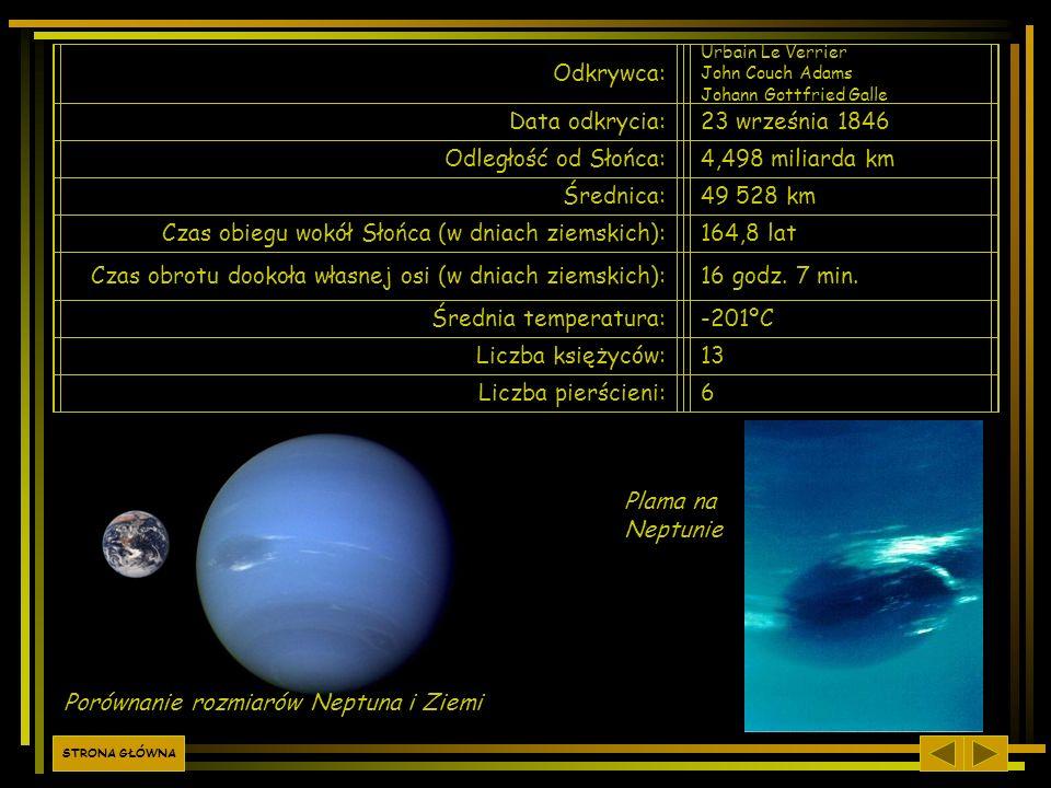 Odkrywca: Urbain Le Verrier John Couch Adams Johann Gottfried Galle Data odkrycia:23 września 1846 Odległość od Słońca:4,498 miliarda km Średnica:49 5