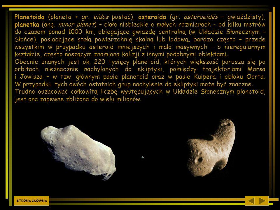 Planetoida (planeta + gr. eídos postać), asteroida (gr. asteroeidés – gwiaździsty), planetka (ang. minor planet) – ciało niebieskie o małych rozmiarac