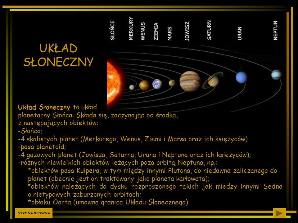 UKŁAD SŁONECZNY Układ Słoneczny to układ planetarny Słońca. Składa się, zaczynając od środka, z następujących obiektów: -Słońca; -4 skalistych planet