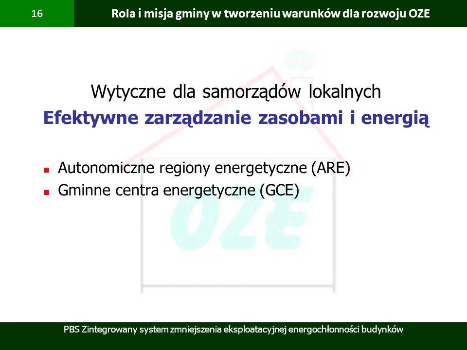 PBS Zintegrowany system zmniejszenia eksploatacyjnej energochłonności budynków 16 Rola i misja gminy w tworzeniu warunków dla rozwoju OZE Wytyczne dla