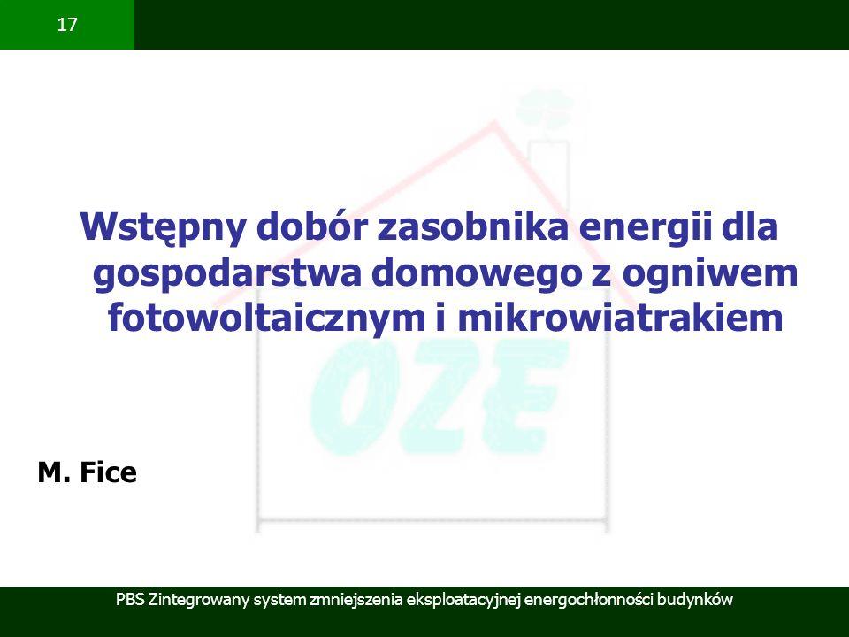 PBS Zintegrowany system zmniejszenia eksploatacyjnej energochłonności budynków 17 Wstępny dobór zasobnika energii dla gospodarstwa domowego z ogniwem