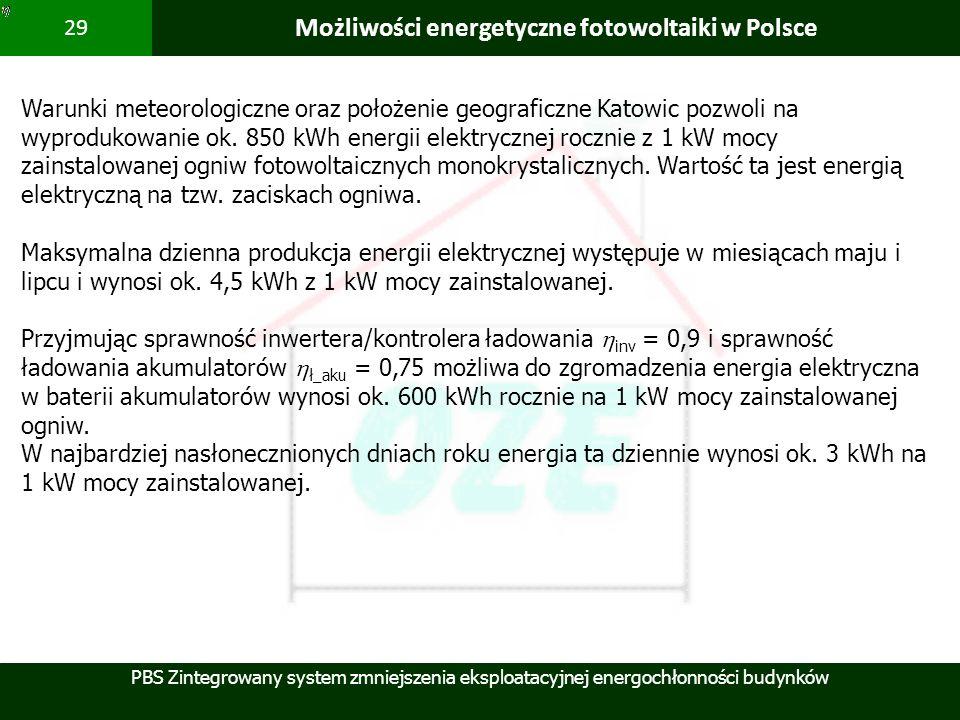 PBS Zintegrowany system zmniejszenia eksploatacyjnej energochłonności budynków 29 Możliwości energetyczne fotowoltaiki w Polsce Warunki meteorologiczn
