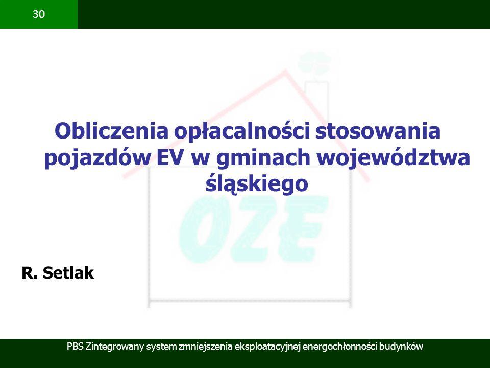 PBS Zintegrowany system zmniejszenia eksploatacyjnej energochłonności budynków 30 Obliczenia opłacalności stosowania pojazdów EV w gminach województwa