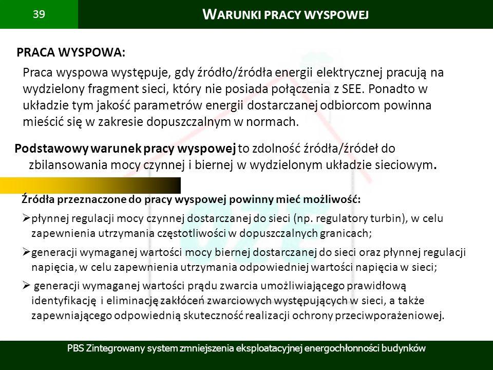 PBS Zintegrowany system zmniejszenia eksploatacyjnej energochłonności budynków 39 W ARUNKI PRACY WYSPOWEJ PRACA WYSPOWA: Źródła przeznaczone do pracy