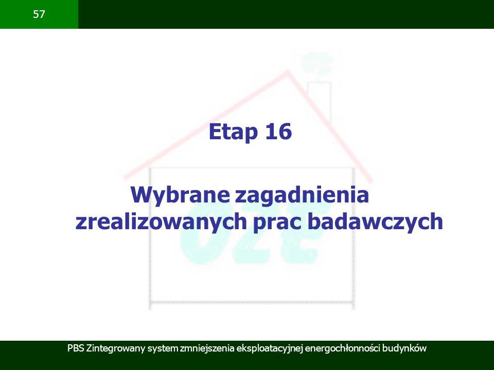 PBS Zintegrowany system zmniejszenia eksploatacyjnej energochłonności budynków 57 Etap 16 Wybrane zagadnienia zrealizowanych prac badawczych