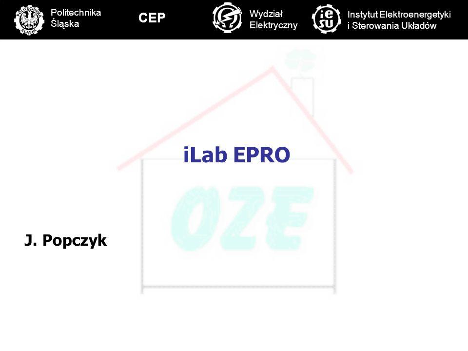 PBS Zintegrowany system zmniejszenia eksploatacyjnej energochłonności budynków 58 iLab EPRO J. Popczyk C Politechnika Śląska Wydział Elektryczny Insty