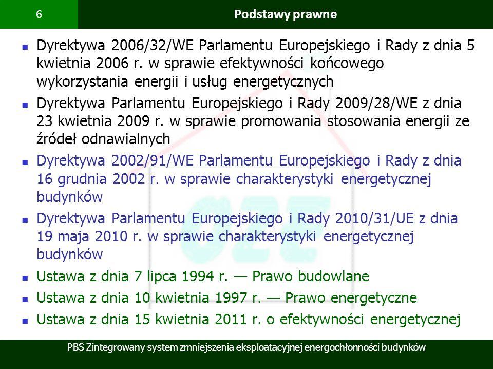 PBS Zintegrowany system zmniejszenia eksploatacyjnej energochłonności budynków 6 Podstawy prawne Dyrektywa 2006/32/WE Parlamentu Europejskiego i Rady