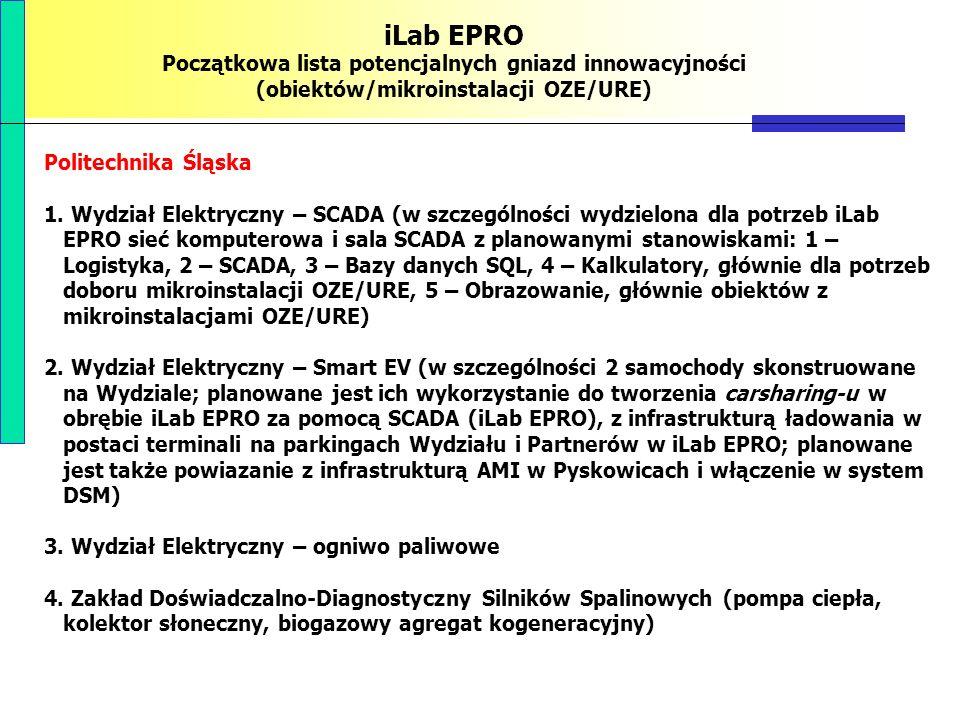 iLab EPRO Początkowa lista potencjalnych gniazd innowacyjności (obiektów/mikroinstalacji OZE/URE) Politechnika Śląska 1. Wydział Elektryczny – SCADA (