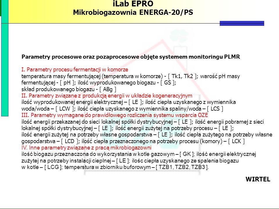 PBS Zintegrowany system zmniejszenia eksploatacyjnej energochłonności budynków 76 iLab EPRO Mikrobiogazownia ENERGA-20/PS Parametry procesowe oraz poz