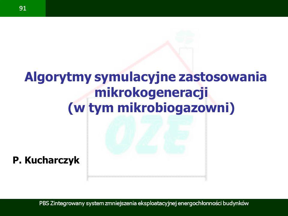 PBS Zintegrowany system zmniejszenia eksploatacyjnej energochłonności budynków 91 Algorytmy symulacyjne zastosowania mikrokogeneracji (w tym mikrobiog