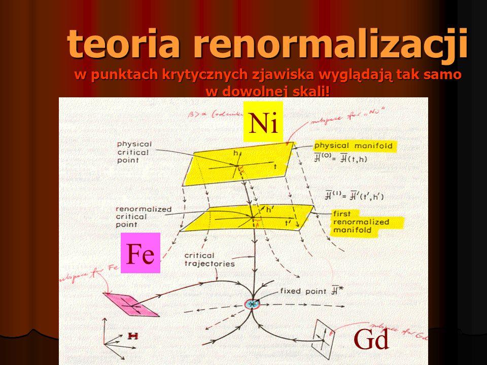 teoria renormalizacji w punktach krytycznych zjawiska wyglądają tak samo w dowolnej skali! Ni Fe Gd