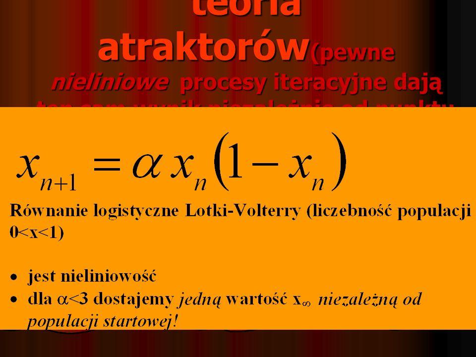 teoria atraktorów (pewne nieliniowe procesy iteracyjne dają ten sam wynik niezależnie od punktu startu)