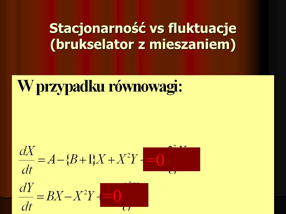 Stacjonarność vs fluktuacje (brukselator z mieszaniem) =0