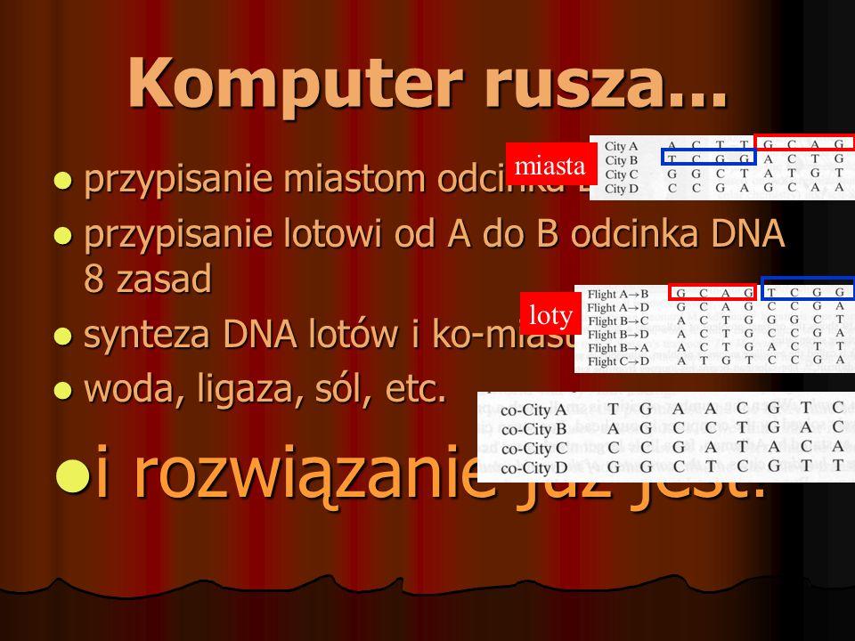 Komputer rusza... przypisanie miastom odcinka DNA 8 zasad przypisanie miastom odcinka DNA 8 zasad przypisanie lotowi od A do B odcinka DNA 8 zasad prz