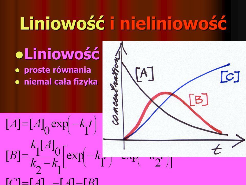 Liniowość i nieliniowość Liniowość Liniowość proste równania proste równania niemal cała fizyka niemal cała fizyka Nieliniowoś Nieliniowoś ć równania