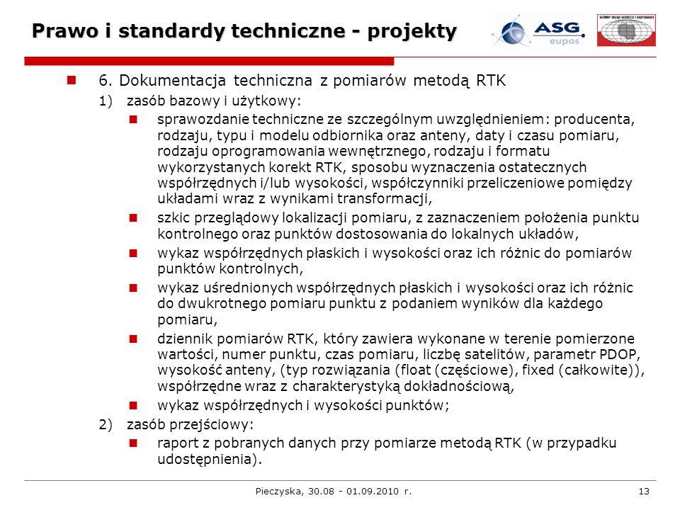 Pieczyska, 30.08 - 01.09.2010 r.13 Prawo i standardy techniczne - projekty 6. Dokumentacja techniczna z pomiarów metodą RTK 1) zasób bazowy i użytkowy
