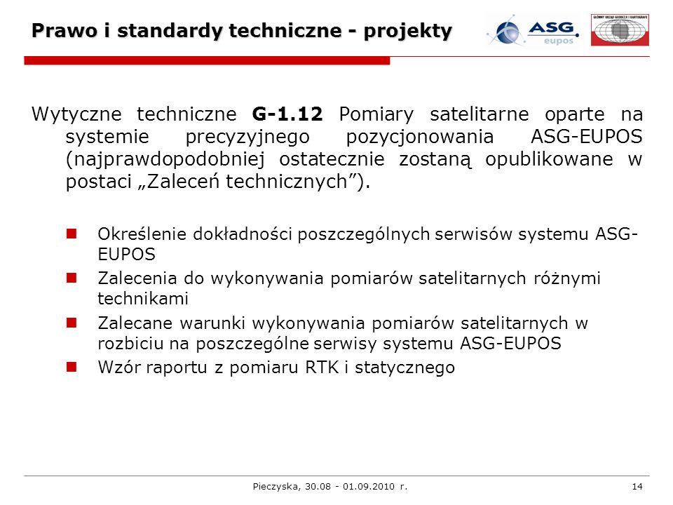 Pieczyska, 30.08 - 01.09.2010 r.14 Prawo i standardy techniczne - projekty Wytyczne techniczne G-1.12 Pomiary satelitarne oparte na systemie precyzyjn
